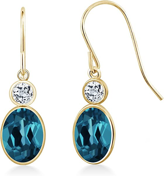 7d650a9ef36a Amazon.com  14K Yellow Gold London Blue Topaz White Topaz Earrings ...