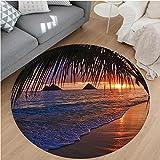 Nalahome Modern Flannel Microfiber Non-Slip Machine Washable Round Area Rug-ions Pacific Sunrise At Lanikai Beach Hawaii Sandy Tropics Distant Hills Leaves Landmark area rugs Home Decor-Round 75''