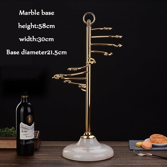 Independiente Desktop Wine Rack | Estante colgante 9 Copa de vino Apilamiento G Tipo Gancho Acero inoxidable Soporte para vino de metal Soporte de ...