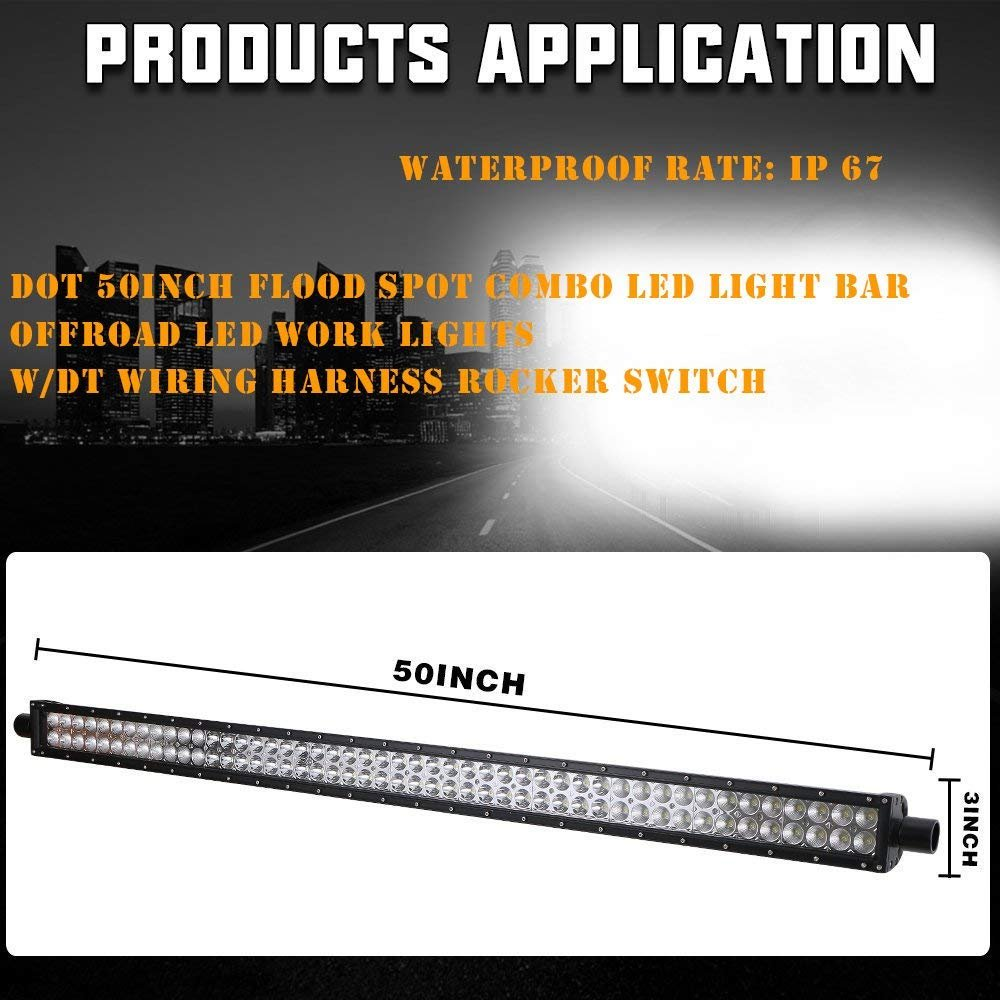 Dot 50inch Led Light Bar Osram Chips 2pc 3 Cube Pods Ip Wiring Harness Fog Lights Upper Roof Windshield Lower Corner Mounting Brackets For 2007 2017 Jeep