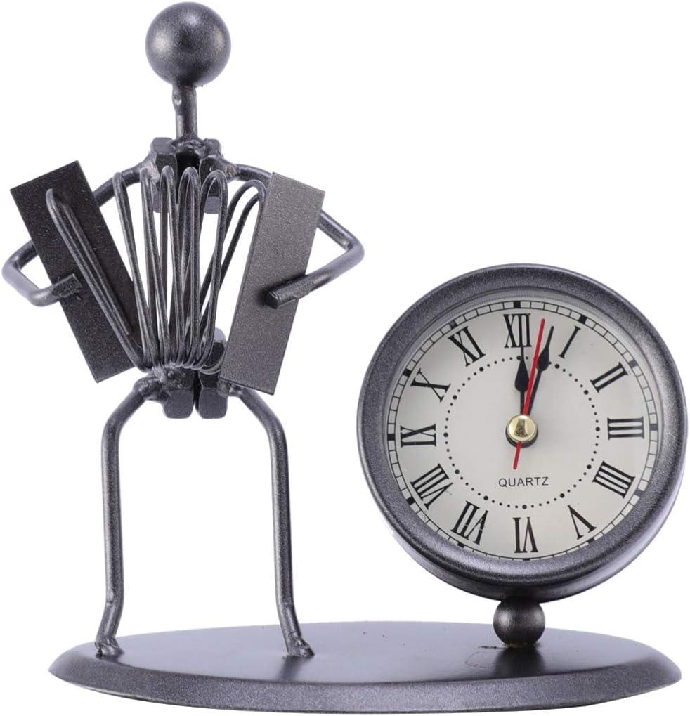 GARNECK Reloj de mesa vintage estilo nórdico música hombre figurita reloj acordeón modelo reloj de mesa adorno de mesa para decoración de oficina sin batería