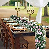 OurWarm 2PCS 7.5 FT Fake Rose Vine Flowers Plants Rose Vine Garland Artificial Flowers for Wedding Home Party Decorations