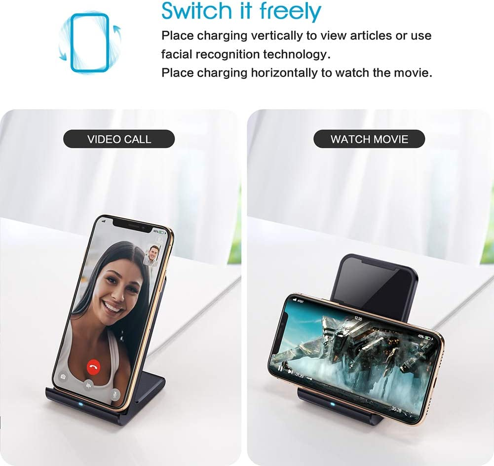 Qi Certified Fast Wireless Charger fixed 7.5W for iPhone 11//11 Pro//11 Pro Max//Xs X //8 S9 and more,Aluminum Frame-White 8Plus S10E Max 10W for Galaxy S10 XS Max Wireless Charging Stand Vebach Merak/1 S10 Plus XR