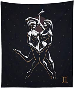 THE UNIVERSAL SIGNS Astrology Horoscope Zodiac Tapestry Decor Wall Hanging (Gemini) Blanket Bedspread Beach Towels Picnic Mat Home Decor
