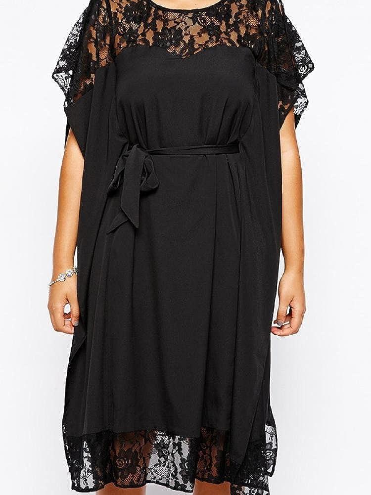 Enlishop Womens Plus Size Loose Lace Patchwork Party Cocktail Dress