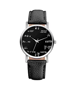 Souarts Lover Girl Artificial Leather Band Math Formula Dial Wrist Quartz Analog Watch 24cm (Black 3)