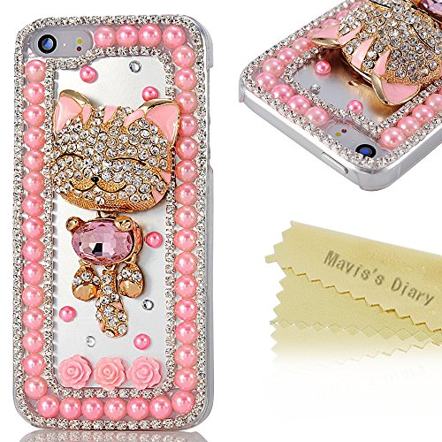 4s Case,iphone 4 Case- Mavis's Diary 3D Handmade Bling Crystal Golden Smile Lovely Cat Sparkle Rhinestone Diamond Hard Cover for Iphone 4&4s with Soft Clean Cloth (Pink Pearl Clear Case)