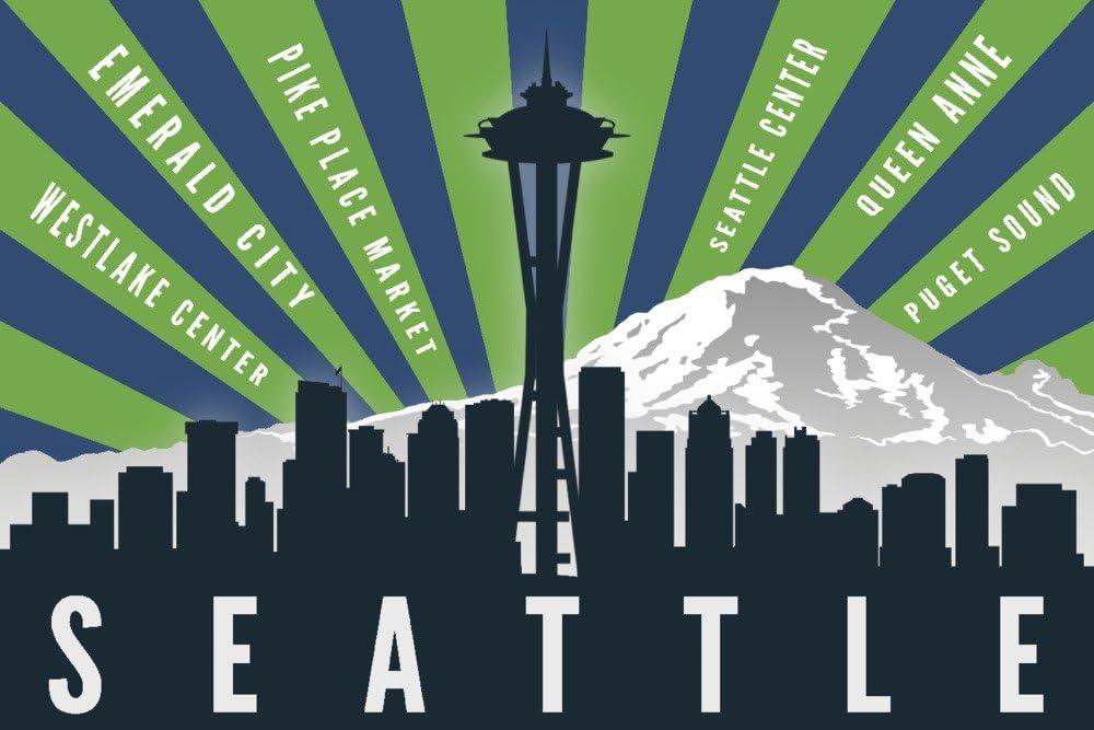 シアトル、ワシントン – Skyline and Mountain – グラフィックTypography 36 x 54 Giclee Print LANT-73276-36x54