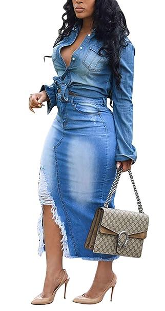 LAJIOJIO Women\'s Casual Distressed Ripped Denim Jean Midi Bodycon Skirt  Plus Size