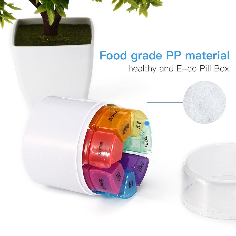 7 Days Pill Organizer Box, GSLL Medicine Remainder Round Small Pill Case 28 Compartments Rainbow Color by GSLL (Image #3)