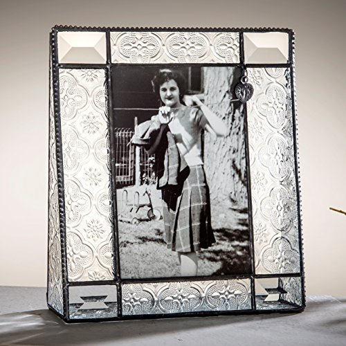 J Devlin Pic 278-46V Stained Glass Picture Frame with Heart Charm 4x6 Vertical Photo Frame Vintage (278 Glasses)