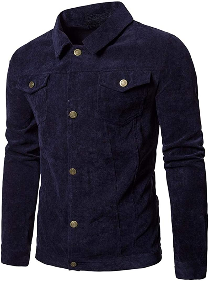 Jacket Men, FORUU Corduroy Tops Turn Down Collar Button Coat