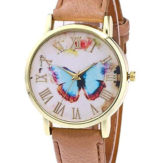 Relojes de Mariposa para Mujer, Relojes de señora análogos únicos de la
