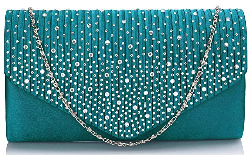 New Long Diamante Studs Ladies With Teal Handbag Envelope 1 Women Design Purse Evening style Clutch Chain nrZzrIqv