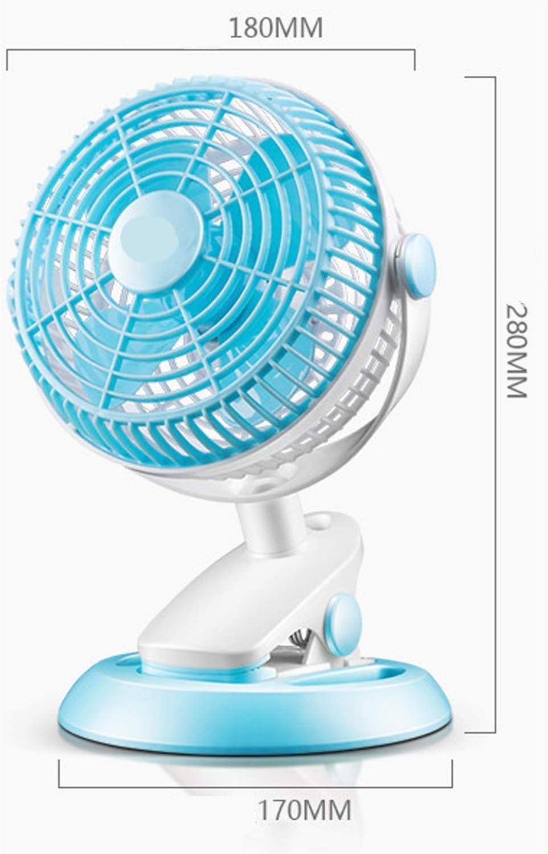Color : 01 Air Cooler Mini USB Fan Bedside Clip Fan Summer Office Bedroom Fan Blue and White Color