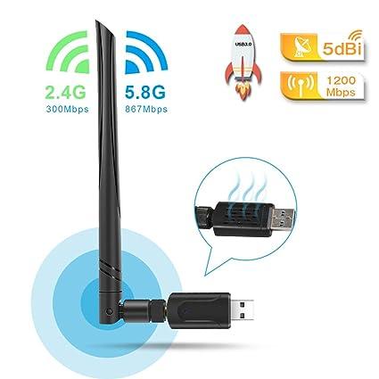 QianWei - Adaptador WiFi USB 3.0 (5dbi, Adaptador WLAN de ...