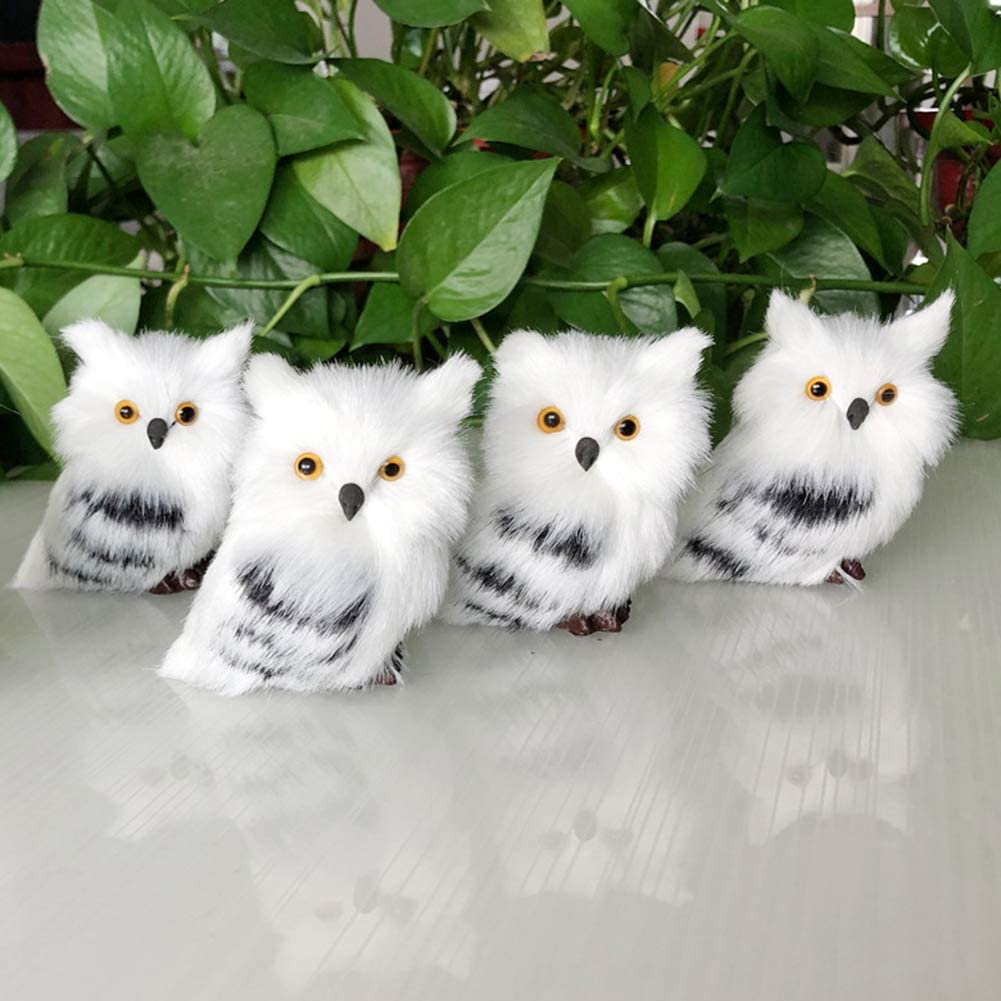 Amazon Com Trraple 4pcs Furry Owl Ornament Christmas Owl Hanging Ornament Owl White Black Furry Christmas Ornament Cute Bird Decoration For Home Office Decorations Home Kitchen