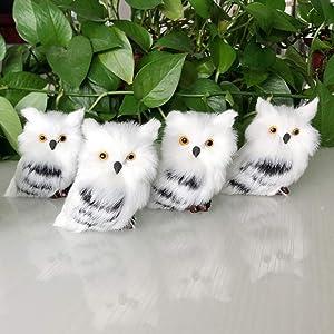 Asodomo 4Pcs Owl White Black Furry Christmas Ornament, Christmas Style Cute Owl Model Tree Hanging Decor Fluffy Baby Owl Christmas Ornament
