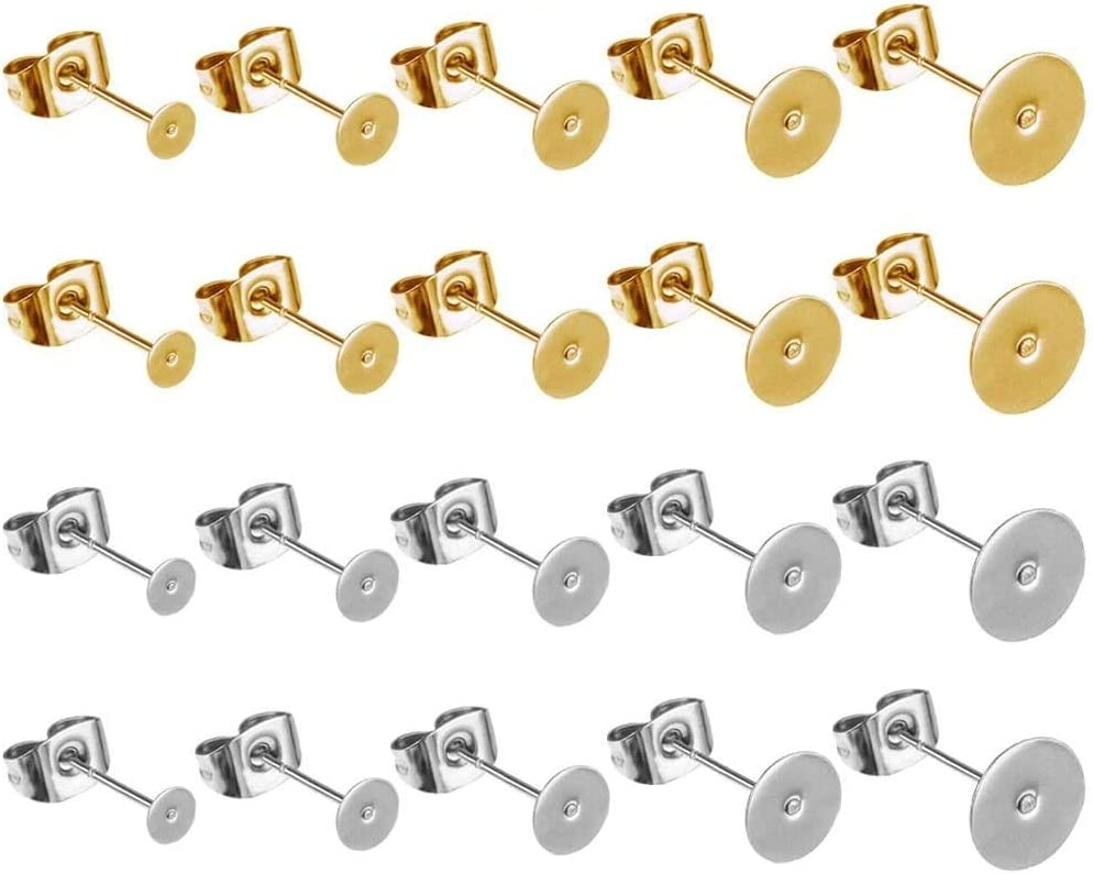 100 piezas con 5 pendientes de acero inoxidable tamaño almohadillas planas y 100 piezas de respaldo de mariposa (plata y oro)