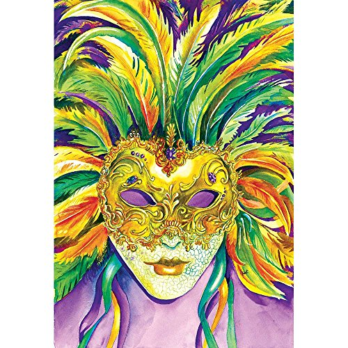 Magnolia Garden Mardi Gras Elaborate Feather Mask Portrait 44 x 30 Rectangular Screenprint Large House Flag
