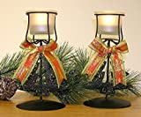 Christmas Candle Holder -Set of 2 Black Wrought Iron Metal Stands - Frosted Glass Tea Light Candle Holders