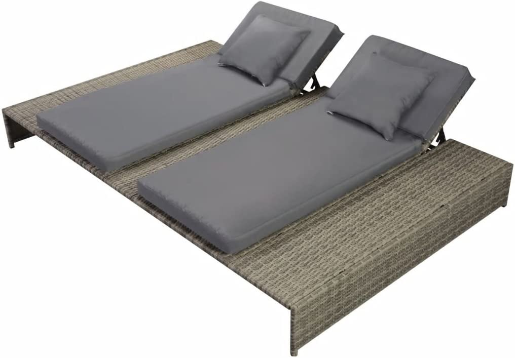 Festnight Outdoor Patio Double Chaise Lounge Chair Pool Sun Lounger With Cushion Poly Rattan Gray Garden Outdoor