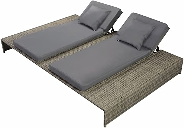 Amazon Com Festnight Outdoor Patio Double Chaise Lounge Chair Pool Sun Lounger With Cushion Poly Rattan Gray Garden Outdoor