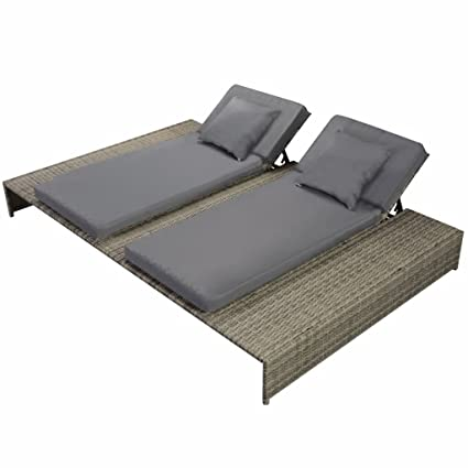Groovy Festnight Outdoor Patio Double Chaise Lounge Chair Pool Sun Lounger With Cushion Poly Rattan Gray Bralicious Painted Fabric Chair Ideas Braliciousco