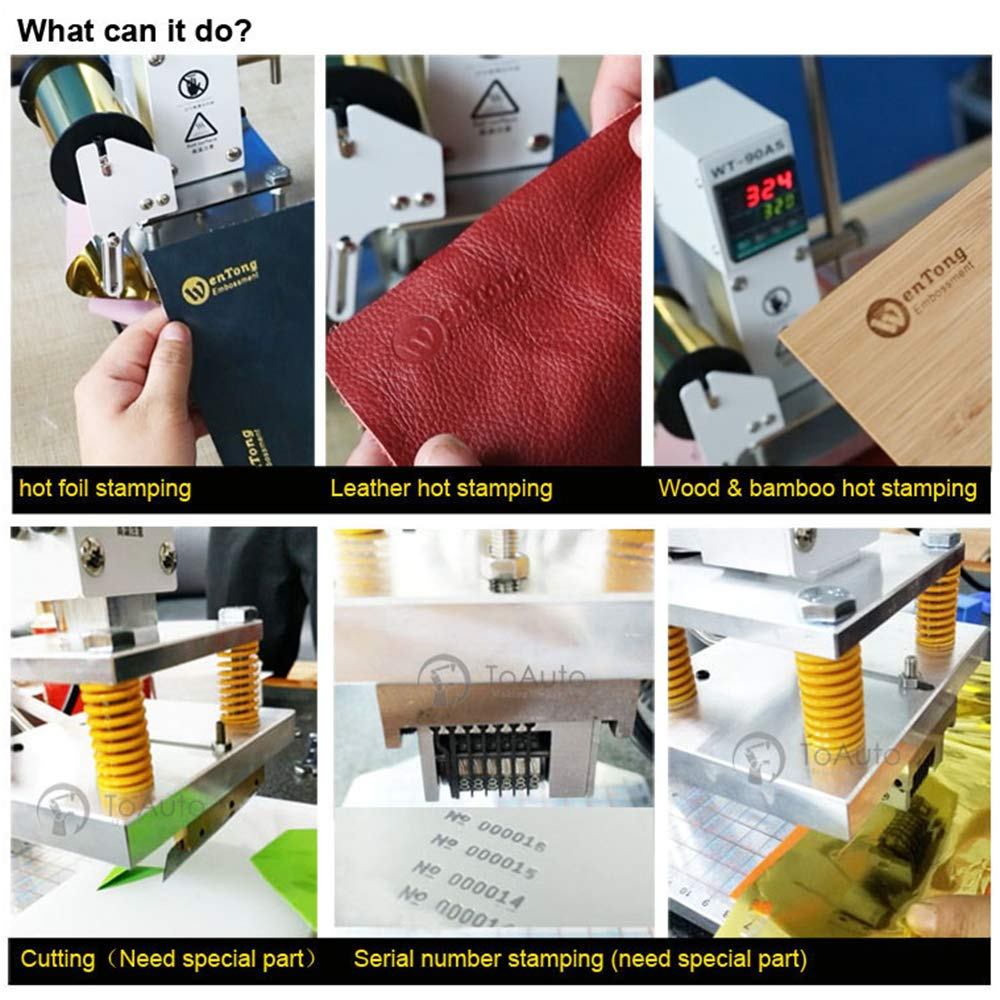 Upgraded Hot Foil Stamping Machine 10x13cm Leather Bronzing Pressure Mark Machine 110V withFull Scale onTheBasePlate for PVC Leather PU Paper Logo Embossing by FASTTOBUY (Image #6)