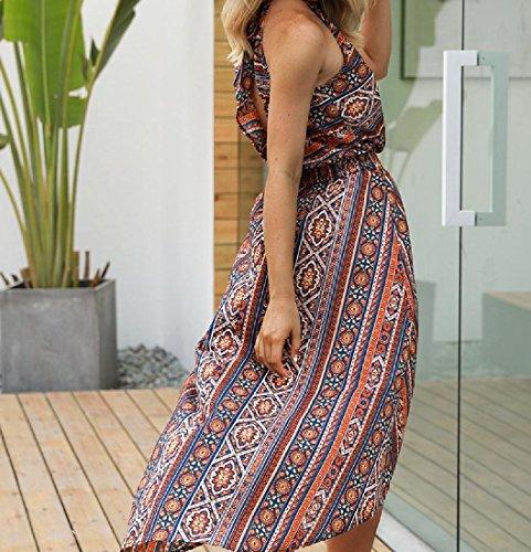 Coolred Dress Waist Women Empire Beach Print Floral Orange Irregular Sleeveless rRrwWTBq