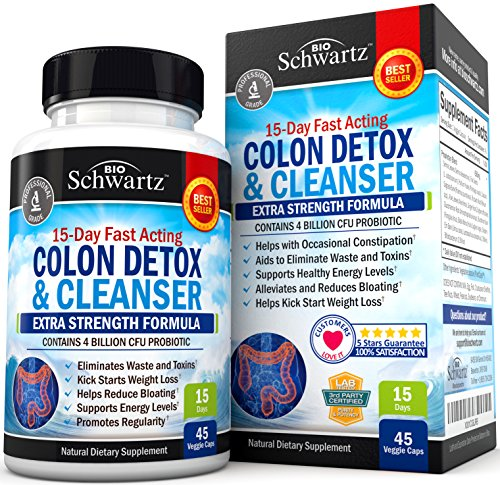 Colon Cleanser & Detox for Weight Loss. 15 Day Extra Strength Detox Cleanse with Probiotic for Constipation Relief. Pure Colon Detox Pills for Men & Women. Flush Toxins, Boost Energy. Safe & Effective (Best Immediate Constipation Relief)