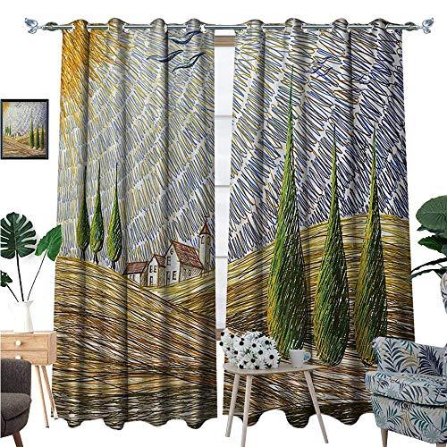 - BlountDecor Italian Patterned Drape for Glass Door Van Gogh Style Italian Valley Rural Fields with European Scenery Painting Print Waterproof Window Curtain W96 x L84 Multicolor