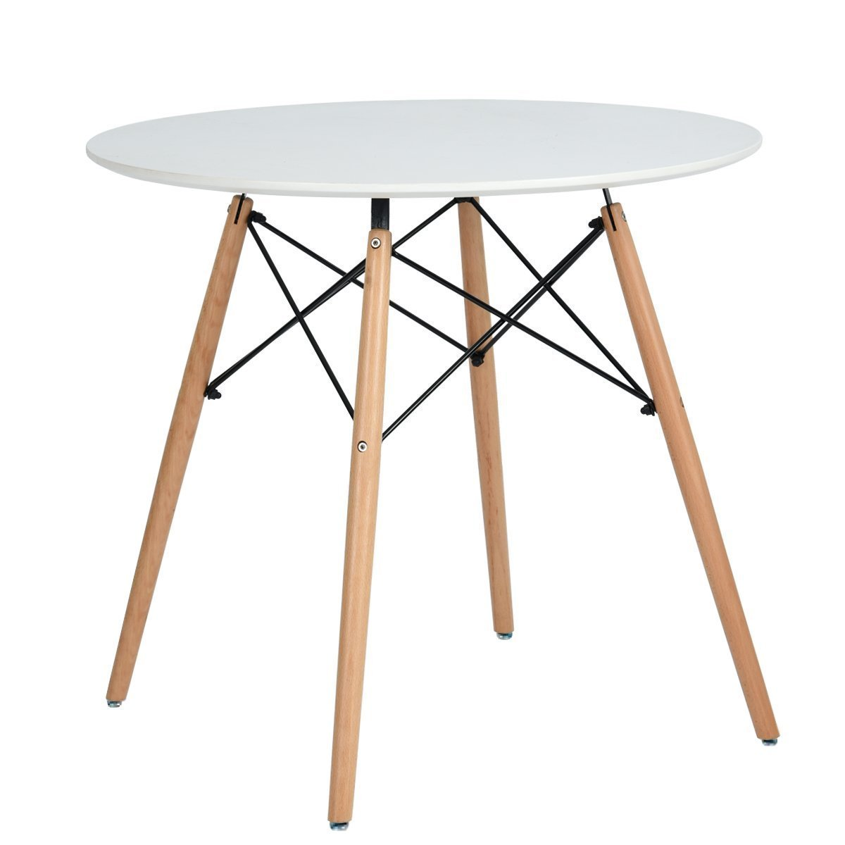 Coavas Chad Kitchen Dining White Round Coffee Modern Leisure Wooden Tea Table Office Conference Pedestal Desk, 31.4931.4929.52 Inch