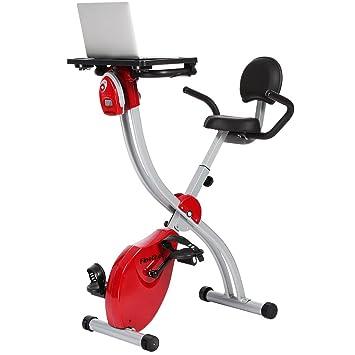 Finether Bicicleta Estática Plegable Magnética con Respaldo, Bicicleta Fitness Plegable para Entrenamiento Cardiovascular, Bicicleta