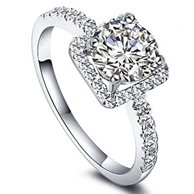 e37f3d0e52 Shuning Love Women's 18K Gold Plated CZ Crystal Engagement Rings Best Promise  Rings Anniversary Wedding Bands