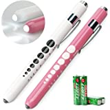 Opoway Pen Light with Pupil Gauge LED Penlight Medical for Doctor Nurse Diagnostic Batteries Free 2ct. Pink and White