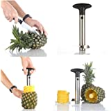 Flexzion Pineapple Corer Peeler De-corer Stainless Steel Fruit Easy Slicer Cutter Kitchen Tool with Plastic Handle for Home Restaurant Use