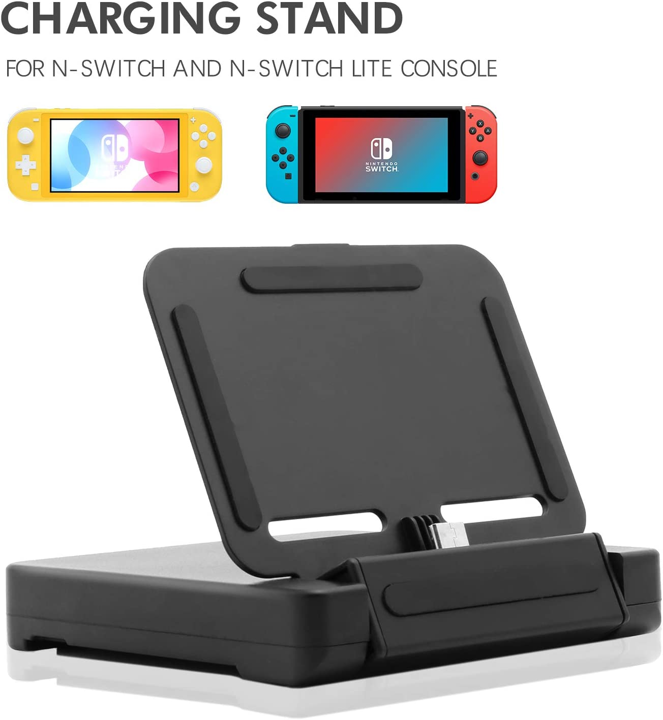 Base de Carga para Nintendo Switch Lite, Soporte de Carga para Nintendo Switch Lite y Nintendo Switch con 2 Ranuras de Juego y 1 Cable USB Tipo C, Color Negro: Amazon.es: Electrónica