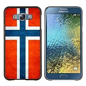 TECHCASE---Cubierta de la caja de protección para la piel dura ** Samsung Galaxy E7 E700 ** --Nacional bandera de la nación País Noruega
