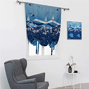 """GugeABC Roman Window Shades Seagulls Room Darkening Roman Shades Underwater Illustration Tropical Fish Sailboats Curling Waves Birds and Sea Life 30"""" Wide by 64"""" Long Blue White"""