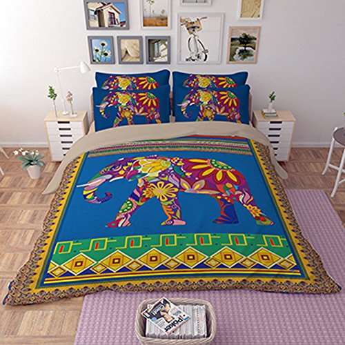 FAITOVE Harajuku Indian Elephant 3 Piece 90''x90'' Duvet Cover Bedding Sets 2 Pillow Cases Queen Size by DIY Duvetcover