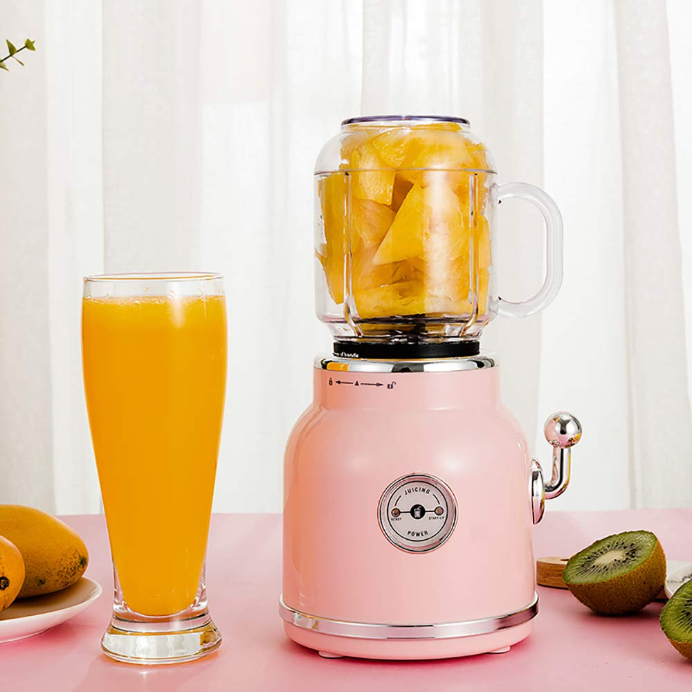 Portable Electric Juicer Blender Fruit Baby Food Milkshake Mixer Meat Grinder Multifunction Retro Juice Maker Machine,Pink