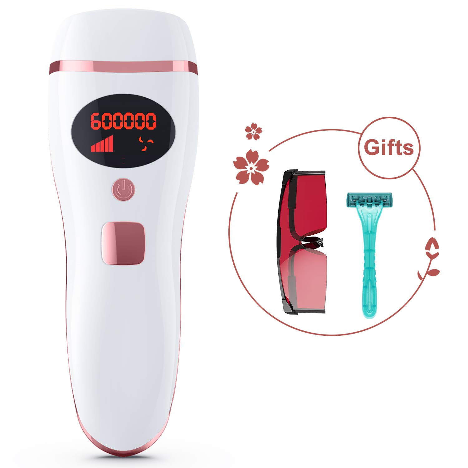 IPL Hair Removal Device, Permanent Hair Removal System for Women and Men Professional Painless Use for Home 600,000 Flashes White Rose