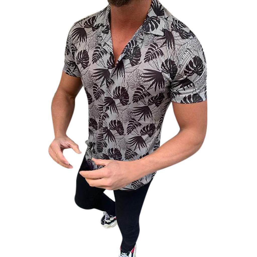 Eoeth Men Summer Fashion Shirts Casual Printed Shirts Short-Sleeve Comfortable Slim Fit Tight Top Blouse T-Shirt Black