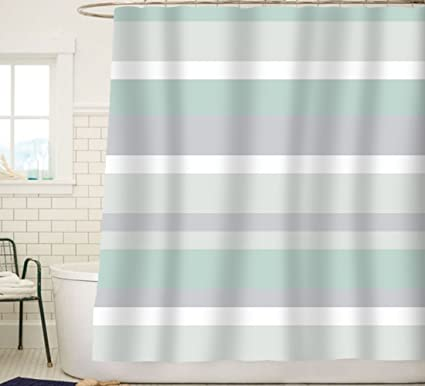 Sunlit Aqua Blue Gray Horizontal Stripes Water Repellent Fabric Shower Curtain Set With Reinforced Metal