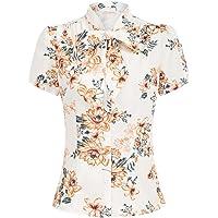 Belle Poque Dam kortärmad ledig topp bastoppar sommar blus vintage skjorta T-shirt med rosett BP819