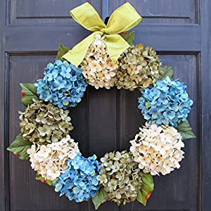 Faux Hydrangea Spring Summer Wreath for Front Door Decor; Turquoise Blue, Cream and Green; Small - Extra Large Sizes 49