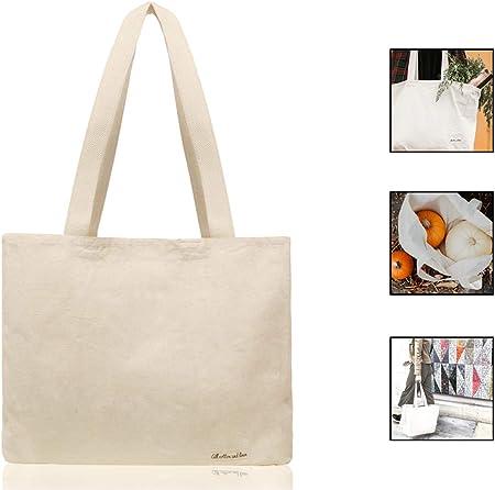 100% orgánico algodón Natural bolsa de lona bolsas de compra reutilizable bolsa de comestibles, algodón