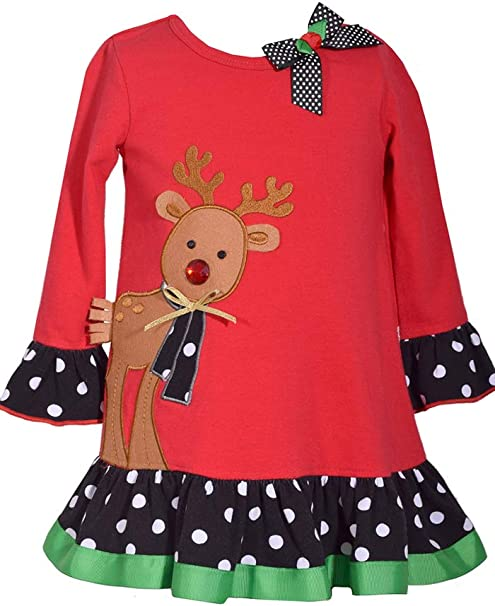 Bonnie Jean Red Christmas Tunic with Reindeer Applique and Candy Cane Stripe Pants