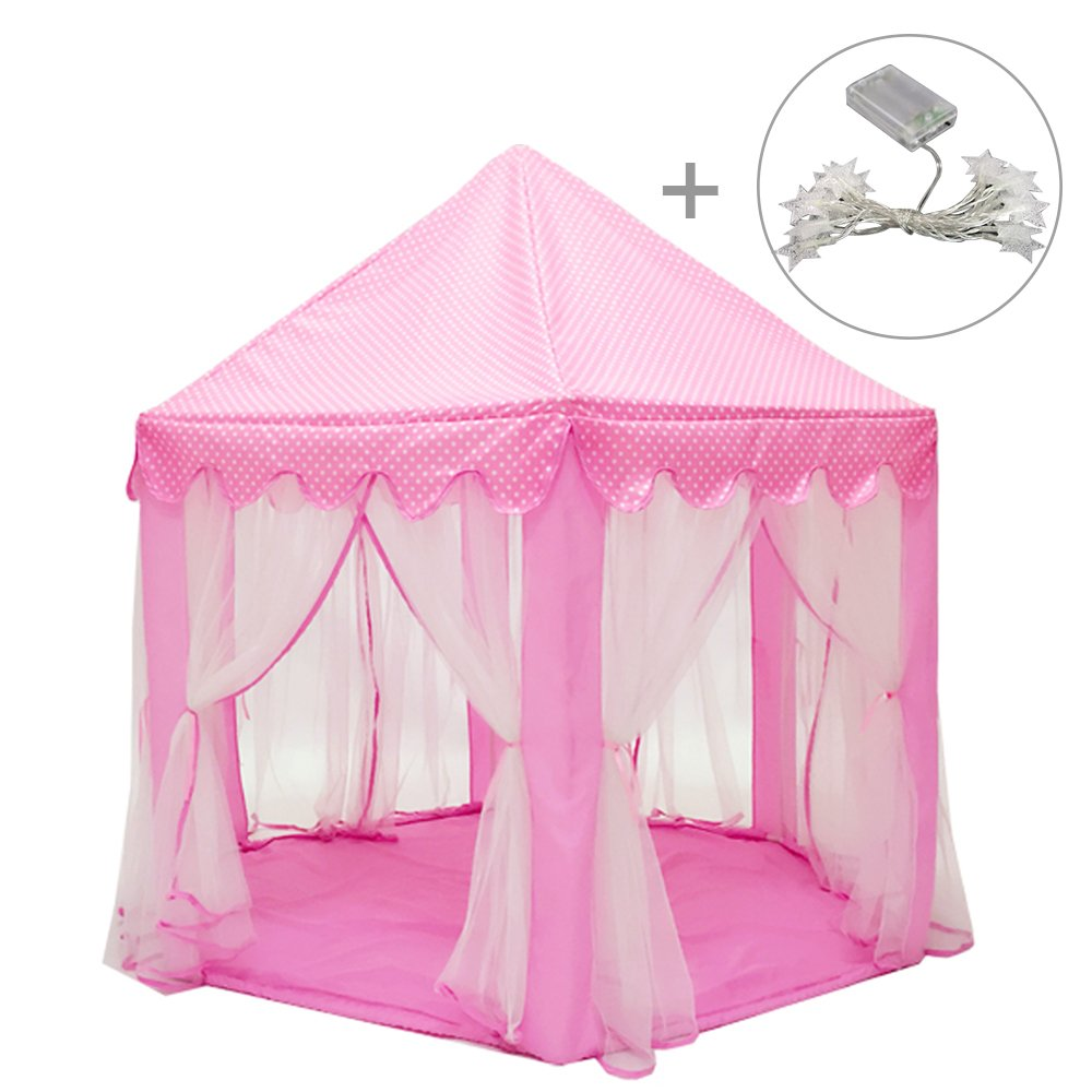Kids Play Tent,ITOY&IGAME Princess Castle Playhouse with Colorful Star Lights Portable Gauze Kids Fairy Castle 55*53in Playhouse Gaming Reading Room without Mat for Indoor Outdoor(Blue)